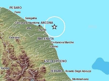 Scossa terremoto 4.4 al largo Ancona