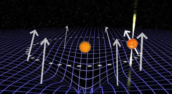 La pulsar inclina l'asse di rotazione mentre attraversa lo spazio-tempo curvato dalla massa della compagna (fonte: Joeri van Leeuwen)