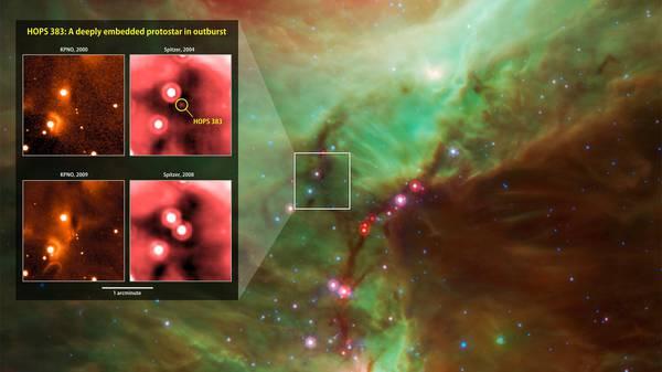 La stella appena nata Hops 383 (fonte: E. Safron et al.; Background: NASA/JPL/T. Megeath, U-Toledo)
