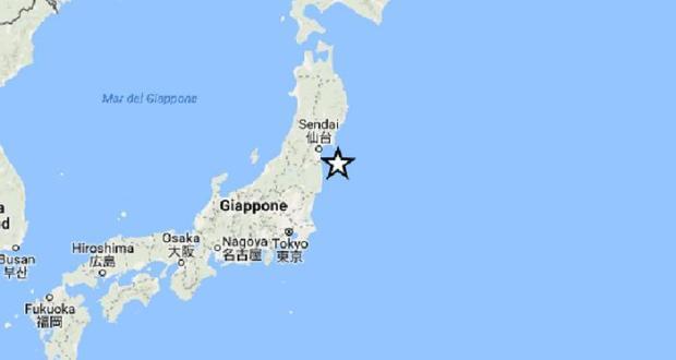Nella cartina dell'Ingv l'epicentro del sisma che si è verificato al largo della costa orientale della prefettura giapponese di Fukushima, 21 novembre 2016.