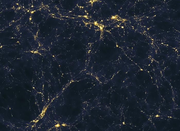 Simulazione al supercomputer di come le galassie sono collegate da filamenti di gas (fonte: Andrew Pontzen/Fabio Governato)