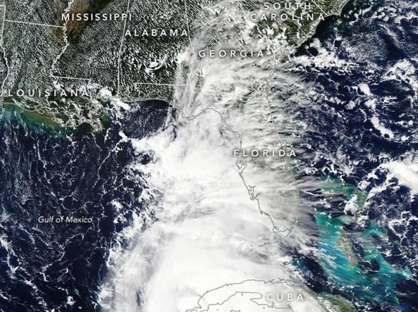 L'immagine dell'uragano Michael ripresa dal satellite Aqua (Nasa)